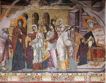 Введение во храм Пресвятой Богородицы. Панселин, XIII век. Карея, Афон